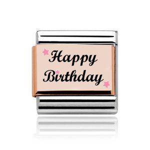 Charmlinks Rose Gold on Silver Happy Birthday Charm