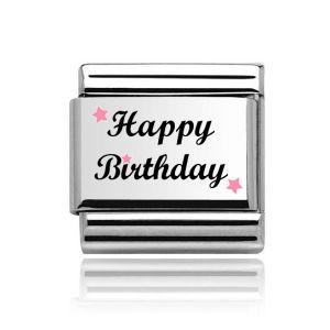 Charmlinks Silver on Silver Happy Birthday Charm