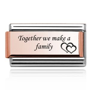 Charmlinks Rose Gold on Silver Together we make a Family Double Charm