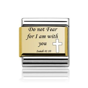 Charmlinks Gold on Silver Bible Quote Charm