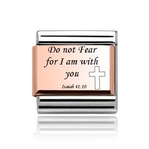 Charmlinks Rose Gold on Silver Bible Quote Charm
