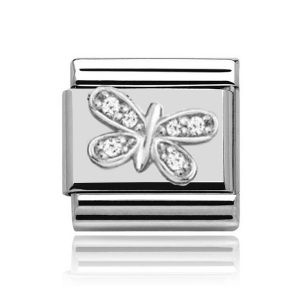 Charmlinks Silver on Silver Butterfly Charm