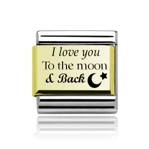 """Charmlinks Yellow Gold on Silver """"I love you to the moon and back"""" Charm"""