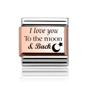 """Charmlinks Rose Gold on Silver """"I love you to the moon and back"""" Charm"""