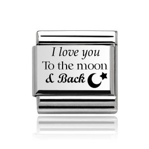 """Charmlinks Silver on Silver """"I love you to the moon and back"""" Charm"""
