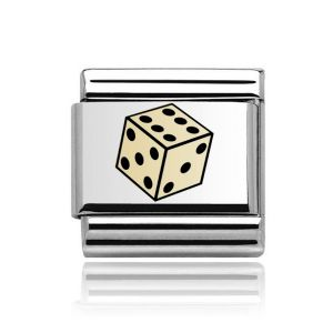 Charmlinks Yellow Gold on Silver Dice Charm
