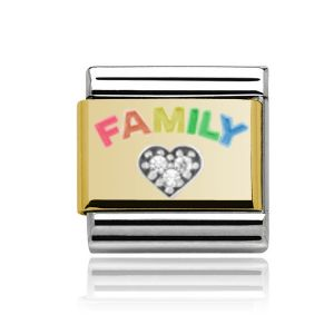 Charmlinks Yellow Gold on Silver Family Charm