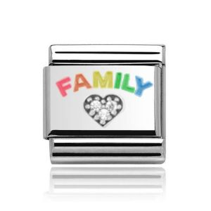 Charmlinks Silver on Silver Family Charm