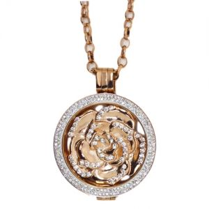 Karine & Co. Rose Gold Crystal Rose Coin Long Necklace