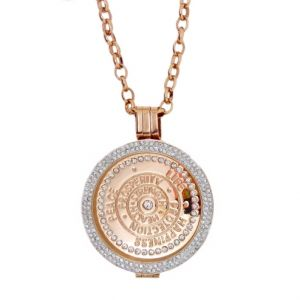 Karine & Co. Rose Gold Crystal Happiness Coin Long Necklace