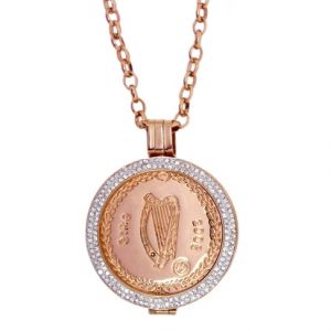 Karine & Co. Rose Gold Crystal Eire Coin Long Necklace