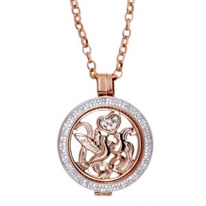 Karine & Co. Rose Gold Crystal Dove Coin Long Necklace