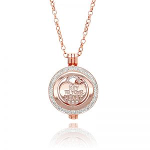 K&Co. Coins Rose Gold Crystal Heart Coin Long Necklace