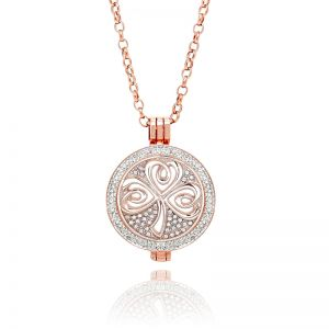 K&Co. Coins Rose Gold Crystal Shamrock Coin Long Necklace