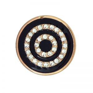 Karine & Co. Rose Gold Crystal Black Circle Coin
