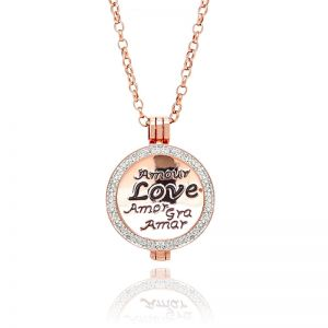 Karine & Co. Rose Gold Crystal Coin Necklace