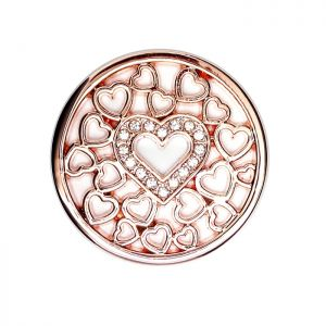 Karine & Co. Rose Gold Crystal Heart Coin