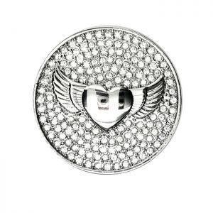 Karine & Co. Silver Crystal Heart Coin