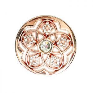 Karine & Co. Rose Gold Crystal Flower Coin