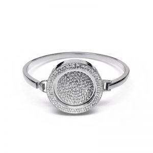 K & Co. Silver Crystal Coin Bangle