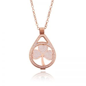K&Co. Coins Rose Gold Crystal Long Necklace
