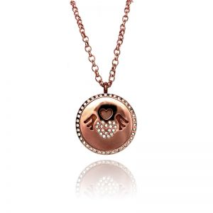 Floating Charms Rose Gold Crystal Necklace