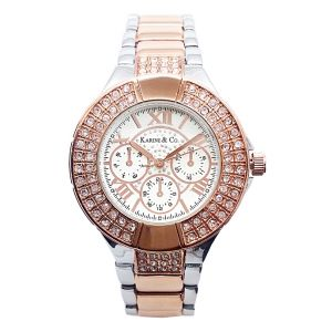 K & Co. Timepiece Rose Gold & Silver Crystal Watch