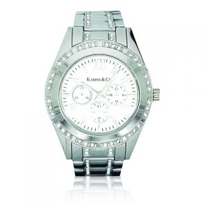 K & Co. Timepiece Ladies' Silver Crystal Watch