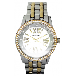 K & Co. Timepiece Ladies' Gold And Silver Crystal Watch
