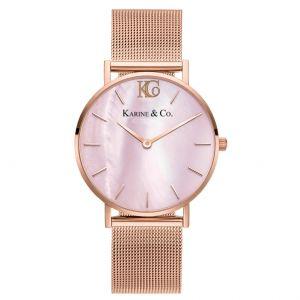 K&Co. Boheme Pink MOP Rose Gold Mesh Watch