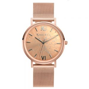 K&Co. Boheme Shimmer Rose Gold Mesh Watch