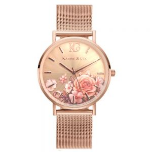 K&Co. Boheme Floral Rose Gold Mesh Watch