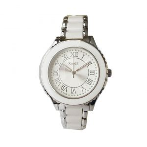 KandE Ladies' Silver And White Crystal Strap Watch