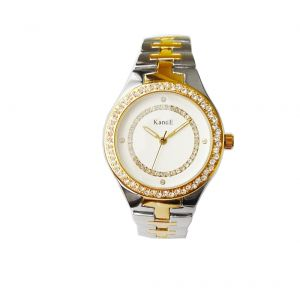 KandE Ladies' Gold And Silver Crystal Strap Watch