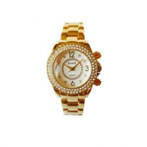 KandE Ladies' Gold Crystal Strap Watch
