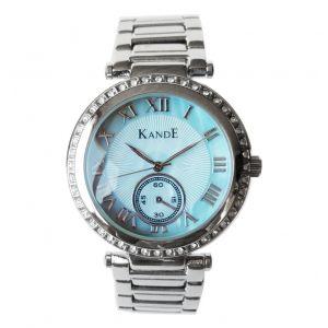 KandE Ladies' Silver & Blue Crystal Strap Watch