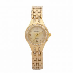 KandE Ladies' Gold Crystal Strap Watch