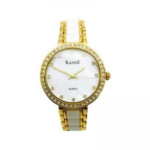 KandE Ladies' Gold And White Crystal Strap Watch