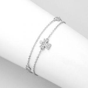 K&Co. Sterling Silver Angel & Love Hearts Bracelet