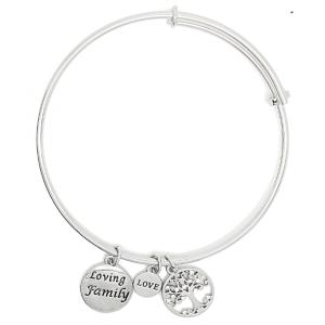 Sentiment Loving Family Silver Bangle