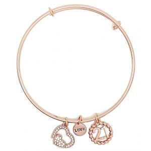 Sentiment Rose Gold Crystal Heart 21st Charm Bangle