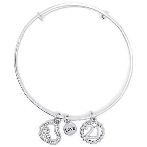 Sentiment Silver Crystal Heart 21st Charm Bangle