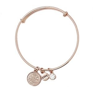 Sentiment Lucky Six Pence Rose Gold Bangle