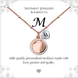 """Sentiment initial """"M"""" two tone necklace"""