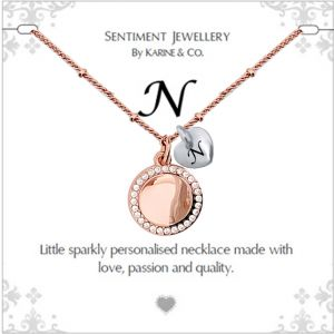"""Sentiment initial """"N"""" two tone necklace"""
