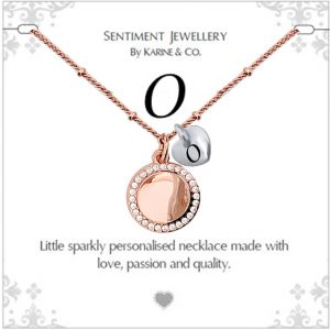 """Sentiment initial """"O"""" two tone necklace"""