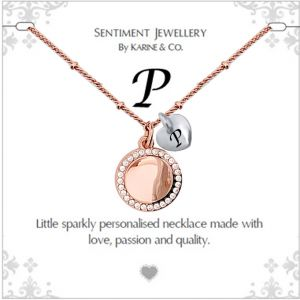"""Sentiment initial """"P"""" two tone necklace"""