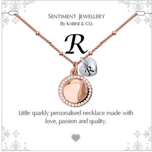 """Sentiment initial """"R"""" two tone necklace"""