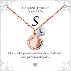 """Sentiment initial """"S"""" two tone necklace"""