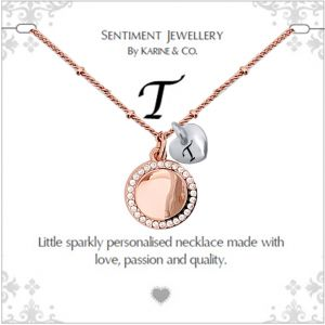 """Sentiment initial """"T"""" two tone necklace"""